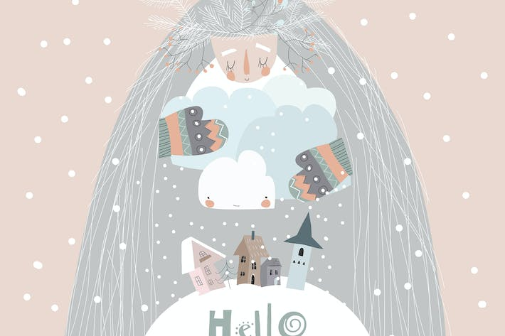 Thumbnail for Vector conceptual Illustration of mother winter