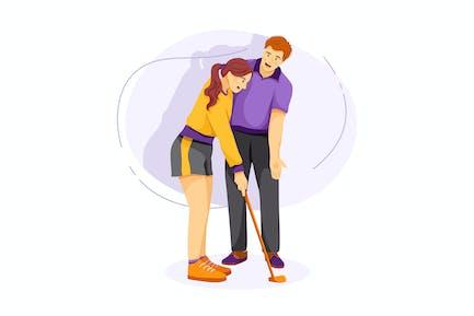 Hombre enseñando a la mujer a jugar golf