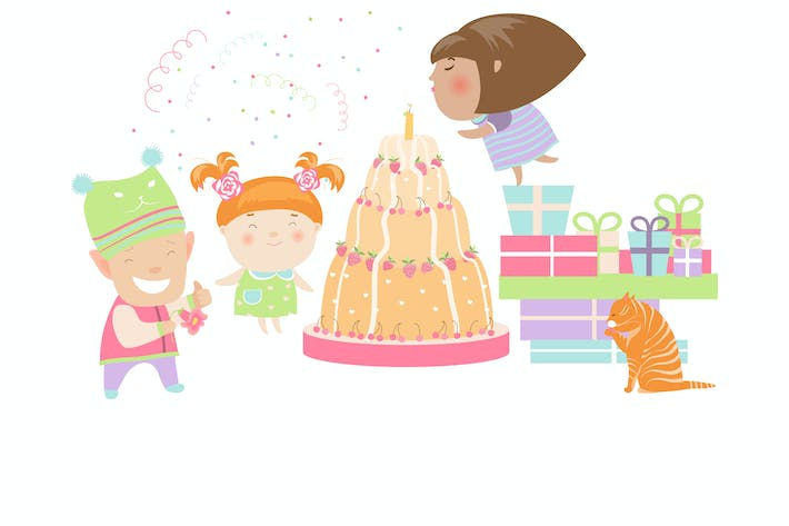 Thumbnail for Kids celebrating Birthday with gifts and cake.