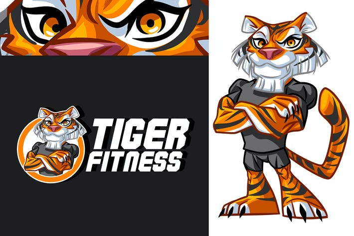 Thumbnail for Tiger Fitness - Cartoon Sporty Tiger Mascot Logo