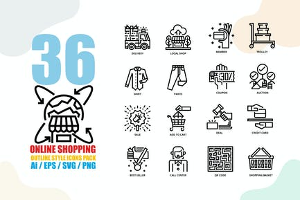 Online Shopping Outline Style Icon set