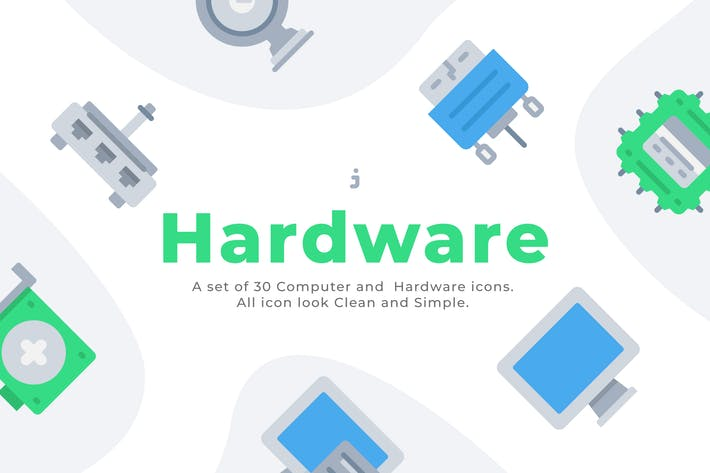 Thumbnail for 30 Computer and Hardware icons - Flat