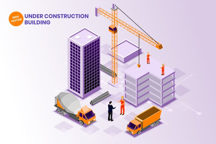 Isometric Under Construction Building Vector