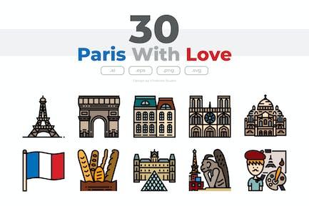 30 Paris mit Liebe Icons