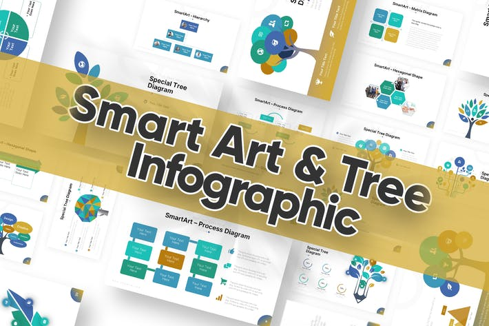 Smart Art & Tree Diagram Powerpoint Template