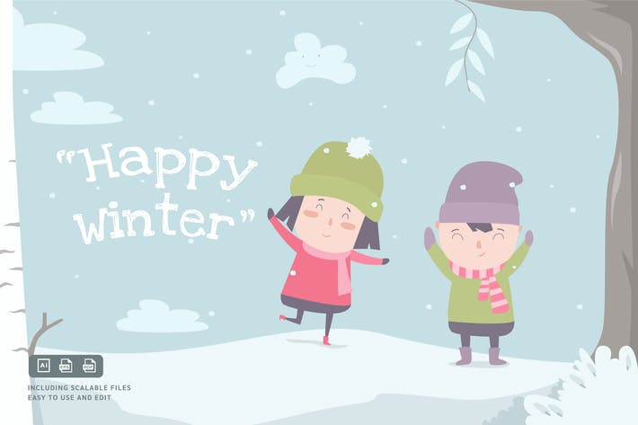 Thumbnail for Happy Winter - Ilustration Template