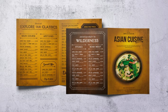 Thumbnail for Asian Cuisine Food Menu A4 & US Letter Bifold
