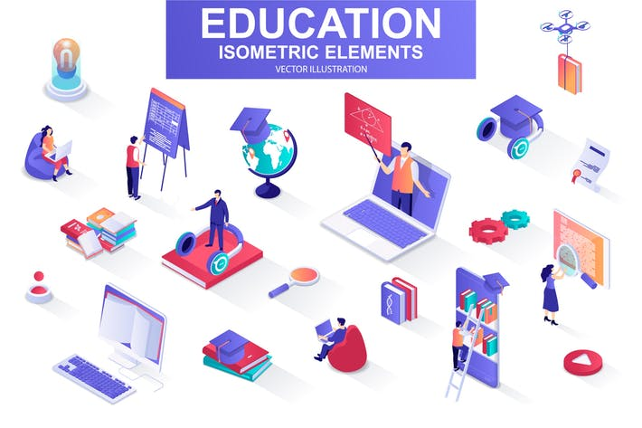 Thumbnail for Education Isometric Design Elements