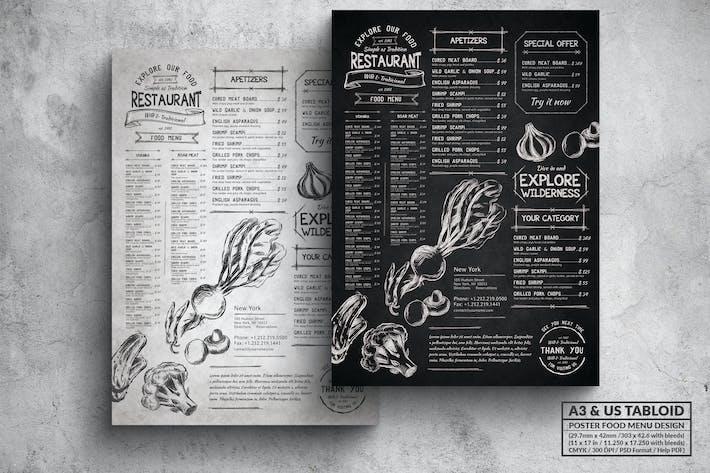 Thumbnail for Vintage Sketch Poster Food Menu - A3 & US Tabloid