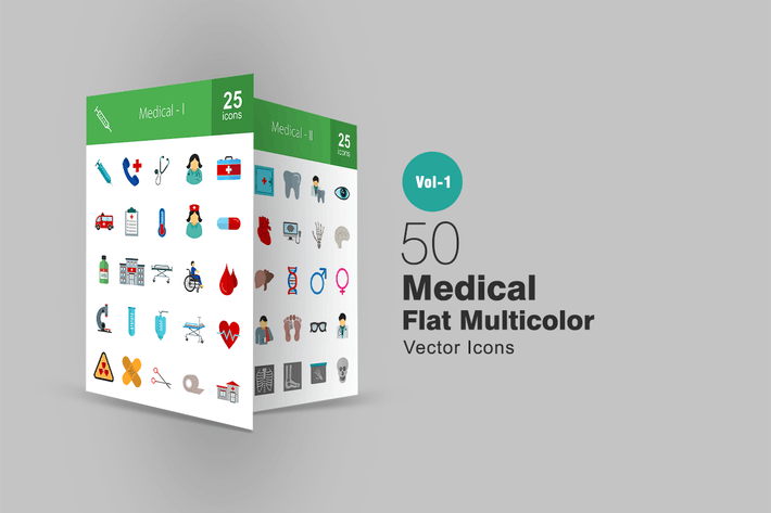 Thumbnail for 50 Medical Flat Multicolor Icons