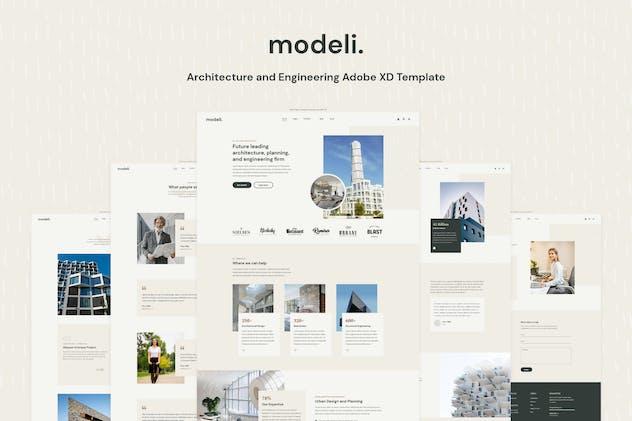 Modeli - Architecture and Engineering Adobe XD Tem