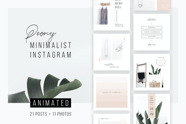 ANIMATED Instagram Posts – Peony + 11 Photos