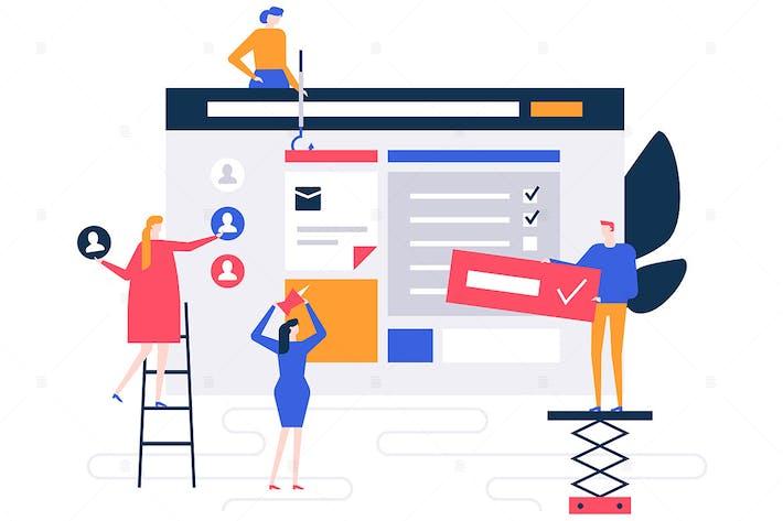 Thumbnail for Effiziente Planung flacher Design-Stil Illustration