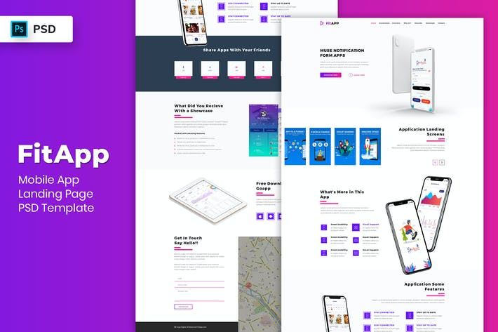 Thumbnail for Mobile App - Landing Page PSD Template-05