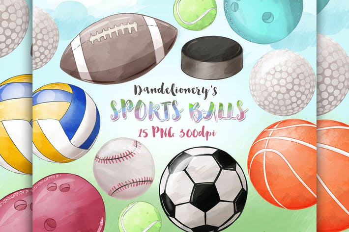 Thumbnail for Watercolor Sports Balls clipart