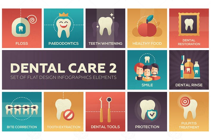 Thumbnail for Уход за зубами - набор плоских элементов Инфографика