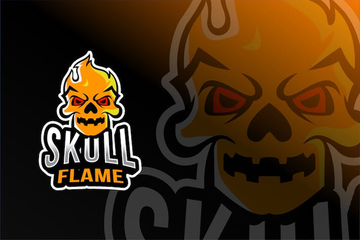 Thumbnail for Skull Flame Esport Logo Template