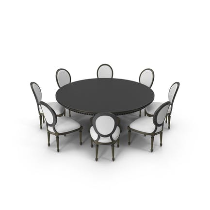 Round Dining Table Set for 8 Persons