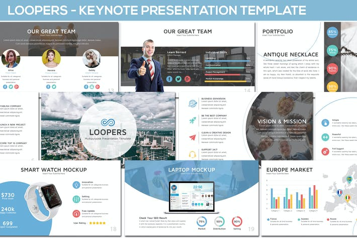 Thumbnail for Loopers - Multipurpose Keynote Template