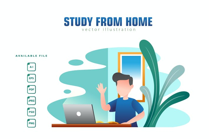 Thumbnail for STUDY FROM HOME - Vector Illustration