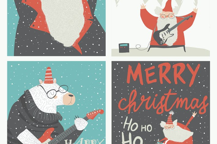 Thumbnail for Set of Christmas card with rock n roll Santa Clau