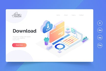 download - Isometric Landing Page
