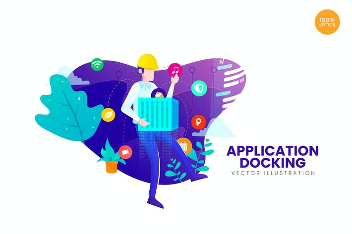 Thumbnail for Mobile Application Docking Vector Illustration