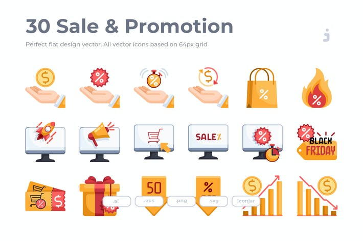 Thumbnail for 30 Sale & Promotion Icons - Flat