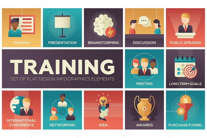 Thumbnail for Business Training - flat design icons set
