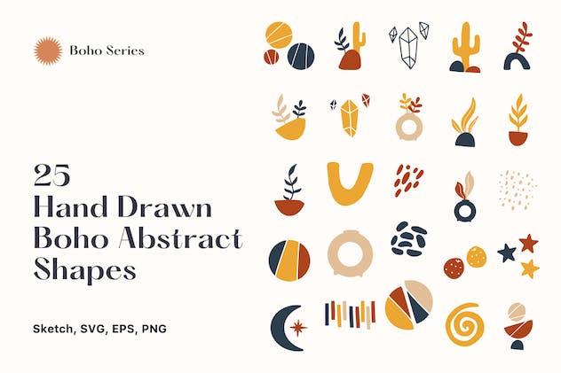 25 Hand Drawn Abstract Boho Shapes vol 4