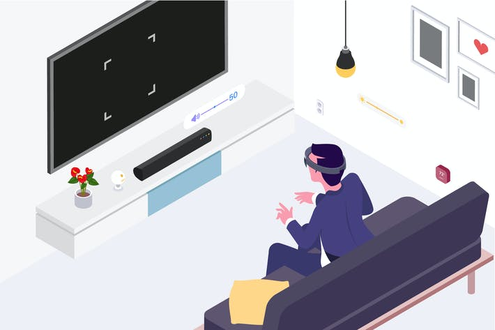 Thumbnail for Inteligente Things con ilustración isométrica VR AR