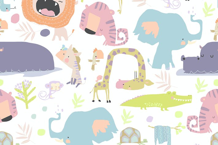Vector Seamless Pattern with color wild Animals