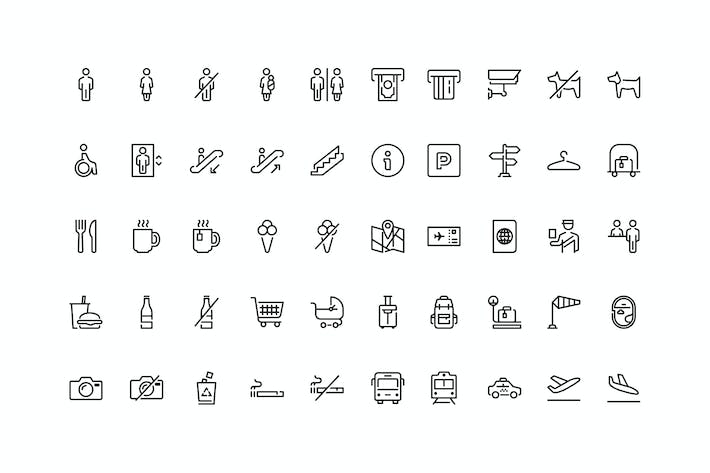 Thumbnail for 50 Wayfinding and Airport icons