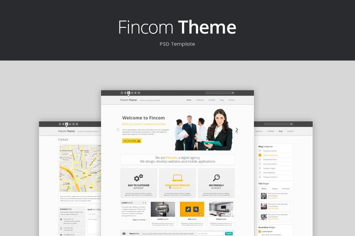 Thumbnail for Fincom – Business PSD Template