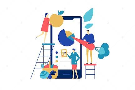 Aplicación de alimentación saludable - ilustración de diseño plano