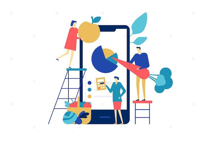 Healthy eating app - flat design illustration