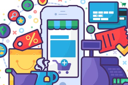 Online Mobile Business Illustration