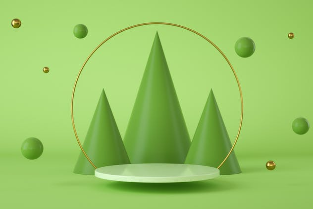 Green modern abstract background with a podium