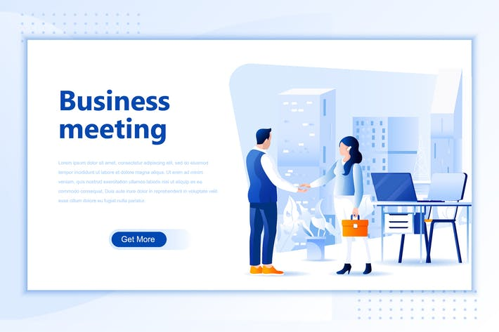 Thumbnail for Business Meeting Flat Landing Page Header