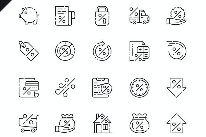 Thumbnail for Simple Set Loan Line Icons