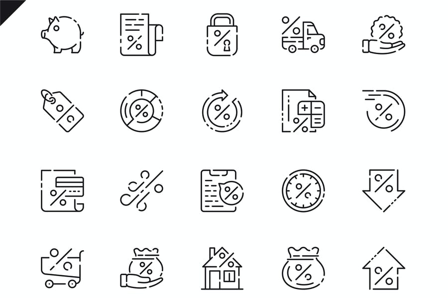 Simple Set Loan Line Icons