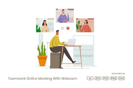 Teamwork Online Meeting mit Webcam