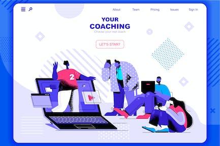 Coaching Flat Concept Landing Page Header