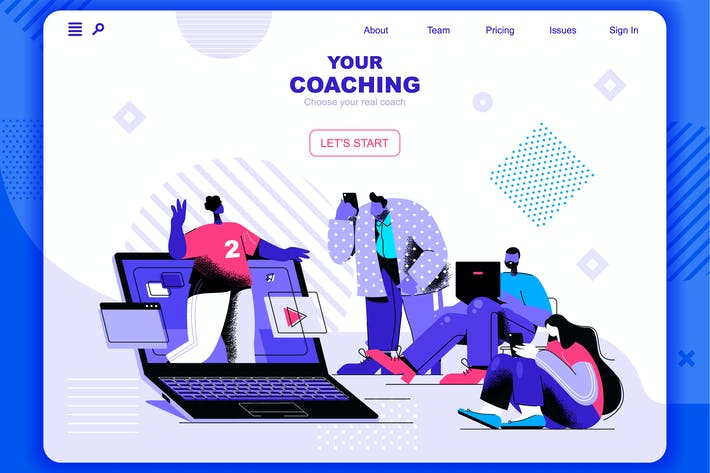 Thumbnail for Coaching Flat Concept Landing Page Header