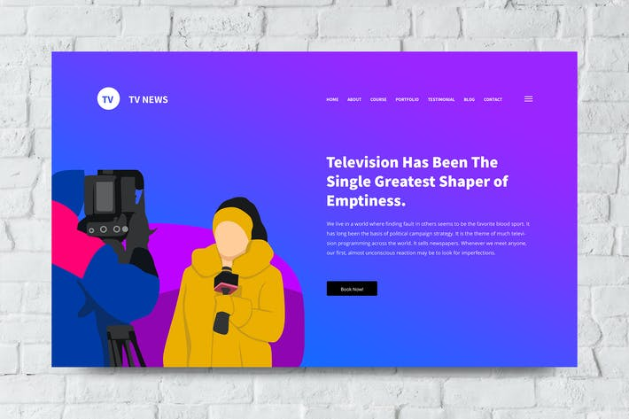 Thumbnail for Tv and News Web Header PSD and Vector Template