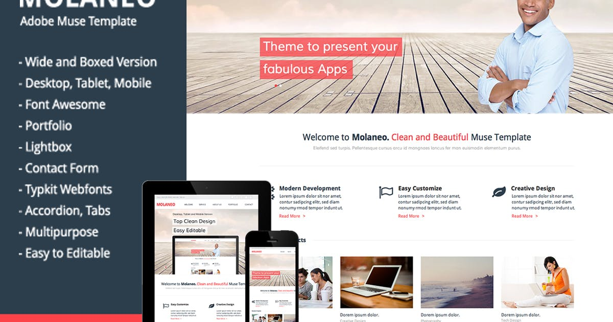 Download Molaneo - Multi-Purpose Muse Template by MuseFrame