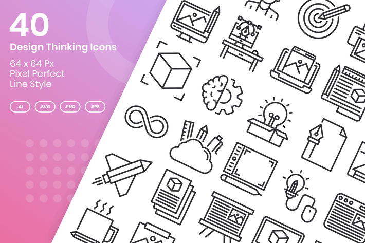 Thumbnail for 40 Design Thinking Icons Set - Line