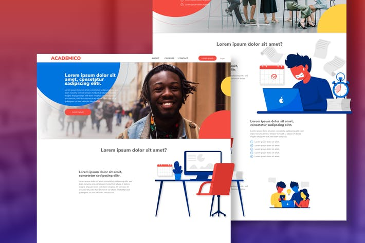 Thumbnail for ACADEMICO - Web XD Template & Illustration