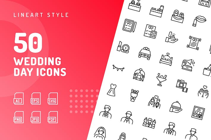 Wedding Day Line Icons