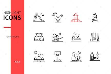 Playground Elements - Line Design Style Icons Set